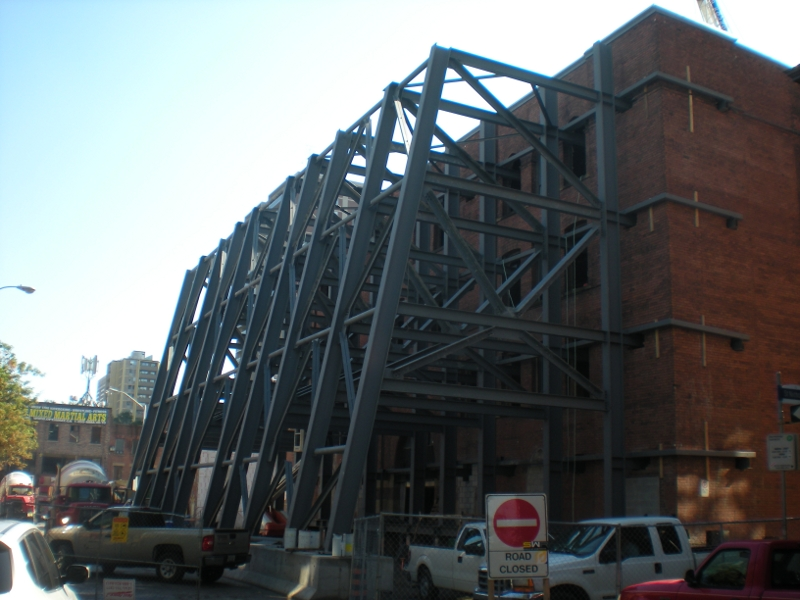 Supporting Glass Facade : Facade support framing saint joseph street residential